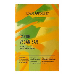 Royal Forest. ROYAL FOREST CAROB VEGAN BAR (манго, урбеч из кешью), 50 г